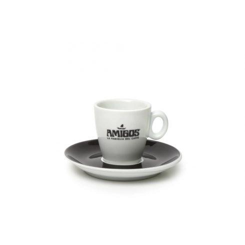 AMIGOS espresso csésze fekete logóval és fekete csészealjjal