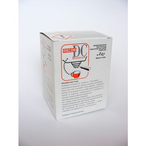 Vízkőoldó vízkőtelenítő por kávégépekhez Ascor 12x25g