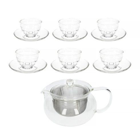 HARIO Cha-cha üveg teáskészlet 6 személyes - 700ml-es teáskancsóval