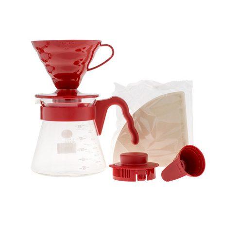 Hario V60-02 dripper, csepegtető, filter kávé készítő szett piros