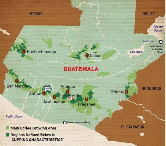 Guatemala kávétermő vidékei